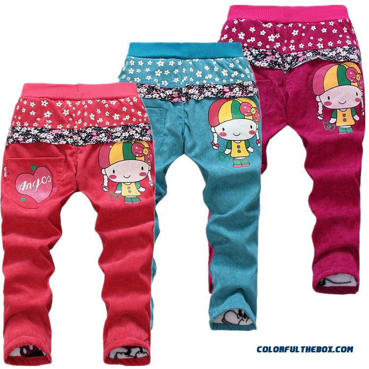 Children Kids Corduroy Cotton Pants Girls Plus Velvet Plus Cotton Pants