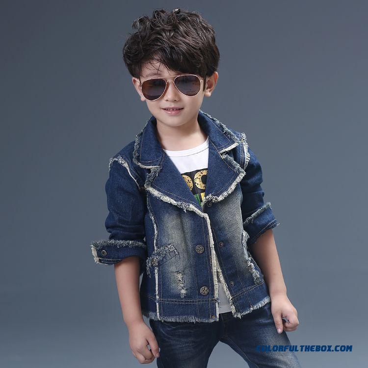 Children's Clothing Boys Denim Jacket Long-sleeved Jacket Cardigan Jacket Free Shipping