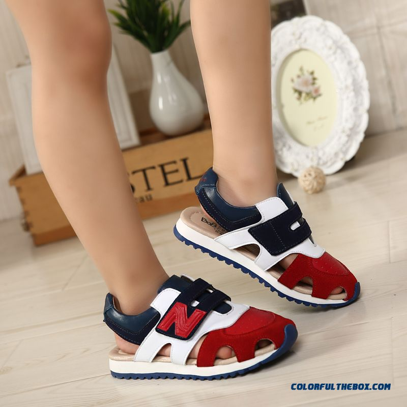 Children's Sandals Leather Sandals Boys Sandals Hollow Kids Shoes Summer - more images 1