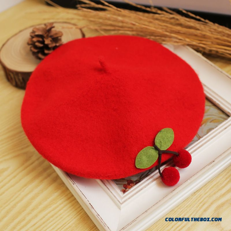 China Design Kids Wool Beret Baby Painter Capboys And Girls Cherry Top Hat Girl Modeling Cap