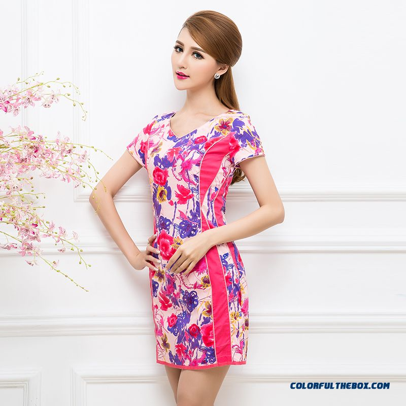 China Original Elegant Fashion Short-sleeved Summer New Splicing V-neck Printed Dress Plus Size Women