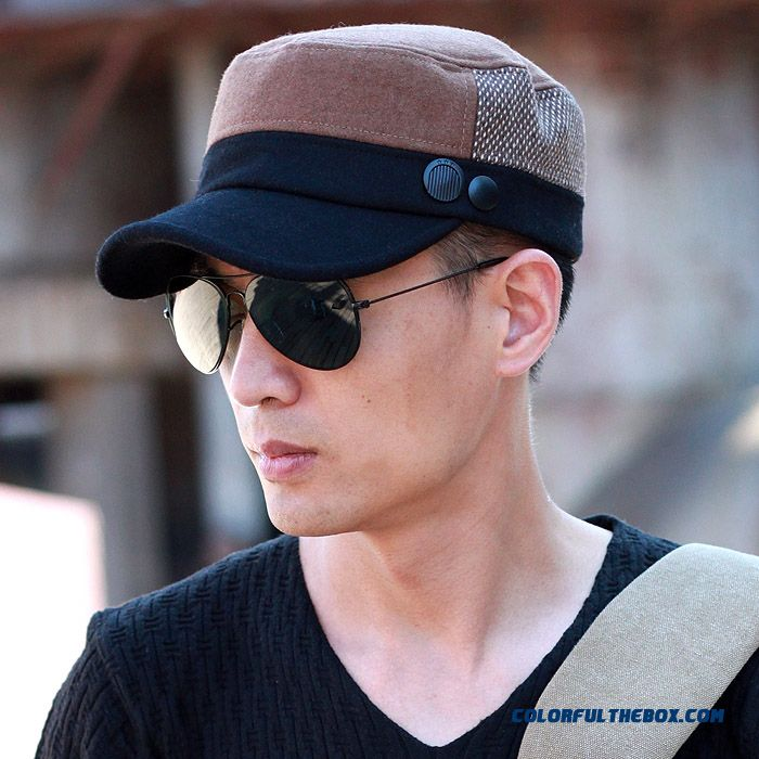 China Supplier Custom Accessories Of Men's Wool Flat Cap Service Cap Peaked Cap Free Shipping
