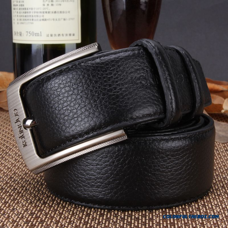China Supplier Custom Authentic First Layer Of Leather Men'spin Buckle Leather Belt