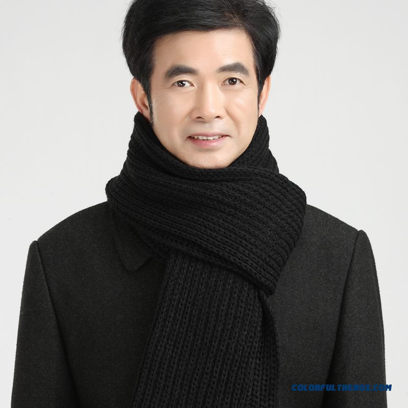 China Supplier Custom Elderly Father Men Warm Pure Color Scarves Accessories - more images 1