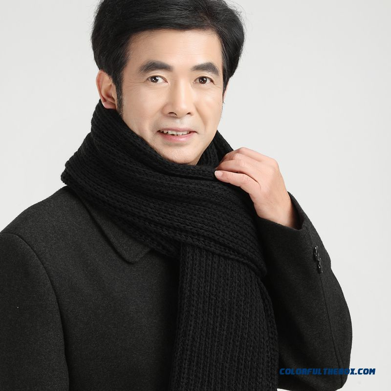China Supplier Custom Elderly Father Men Warm Pure Color Scarves Accessories - more images 2