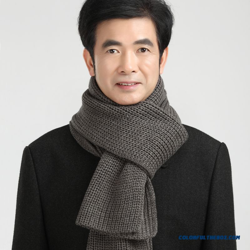 China Supplier Custom Elderly Father Men Warm Pure Color Scarves Accessories - more images 3
