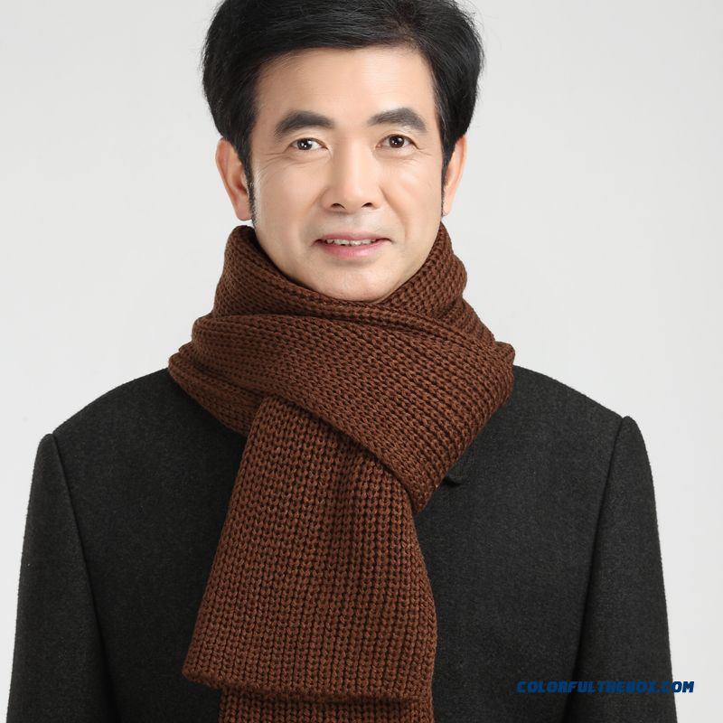 China Supplier Custom Elderly Father Men Warm Pure Color Scarves Accessories - more images 4