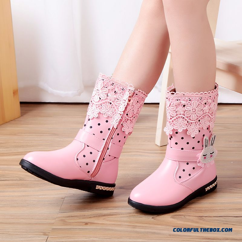 China Supplier Custom Kids Girls Shoes Half Boots Snow Pink Boots With Lace