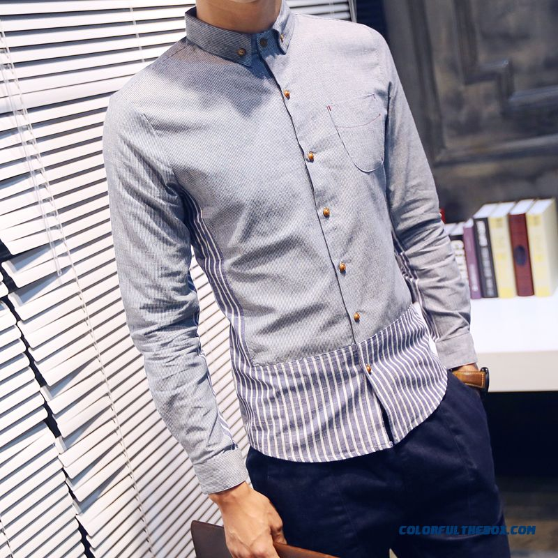 China Supplier Custom Men Long-sleeved Shirt Casual Autumn Solid Color Slim