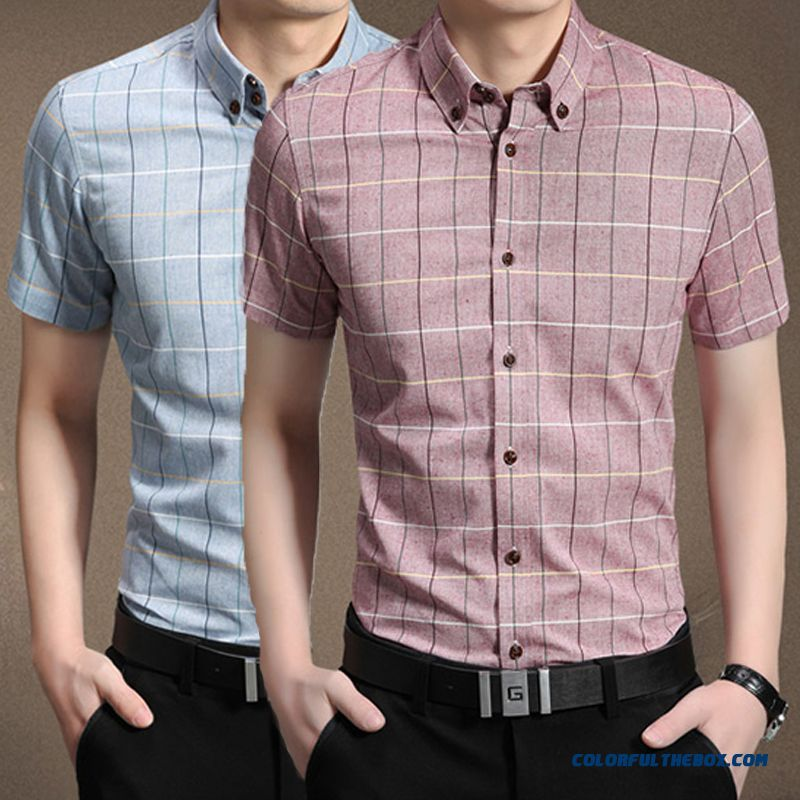 China Supplier Custom Men's Summer Casual Plaid Short-sleeved Shirt Slim Business