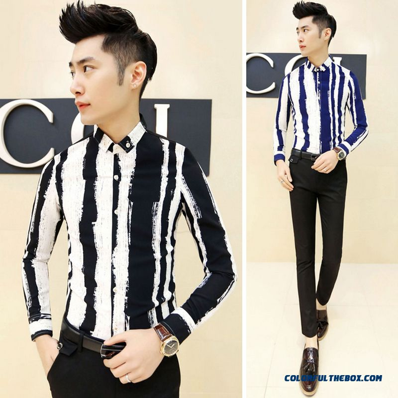 China Supplier Custom New Autumn And Winter Long-sleeved Striped Shirt Men Slim