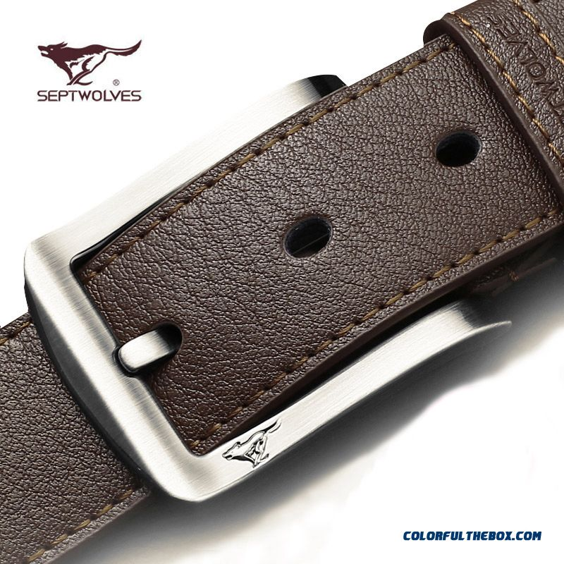 China Supplier Custom Seven Wolf Brand Men Casual Belt Genuine Product Free Shipping
