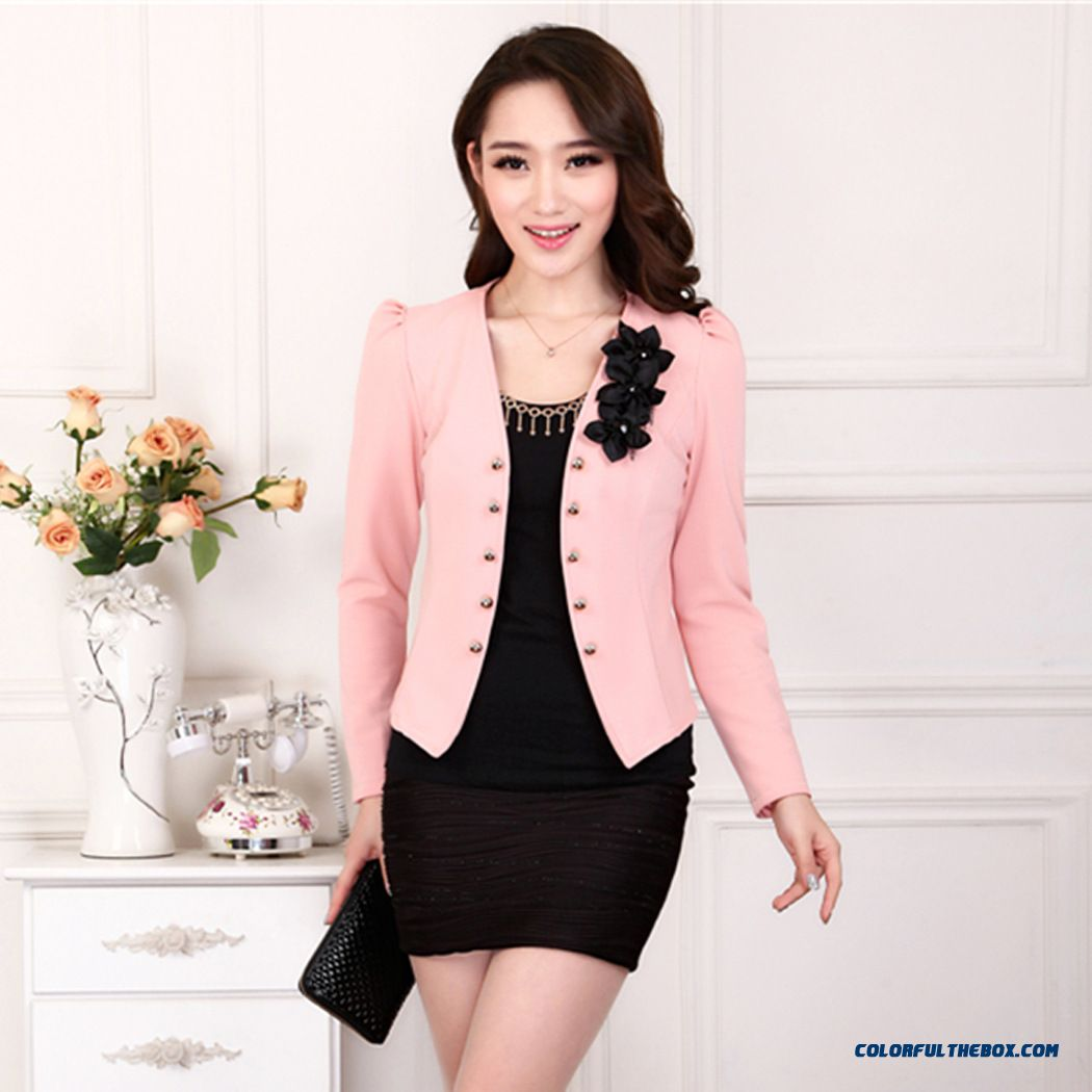 China Supplier Custom Women Long-sleeved Double-breasted Suit Coat 5 Colors