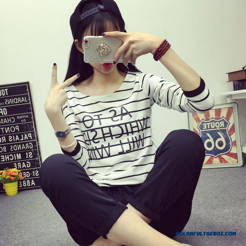 China Supplier Custom Women Striped Long-sleeved Blouses Large Size T-shirt Cotton Bottoming Shirt Slim