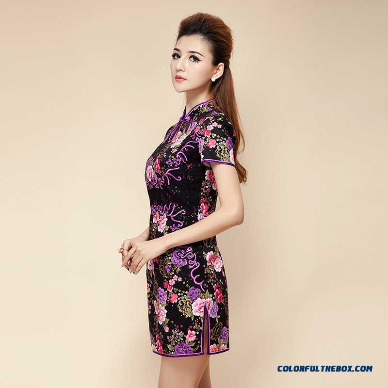 Chinese Improved Cheongsam Spring New Half- Short-sleeved Dress Middle-aged Women