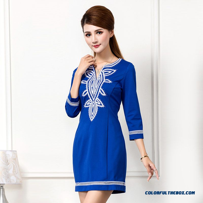 Chinese Style Spring Dress Lady Dress Three Quarter Sleeve Dress Slim Red Blue Classic Hot Summer Clothing
