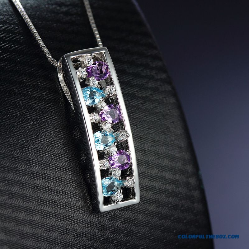 Christmas Gift Personalized Quality Natural Multicolor Inlaid Tourmalines Necklace Women's Fine Jewelry