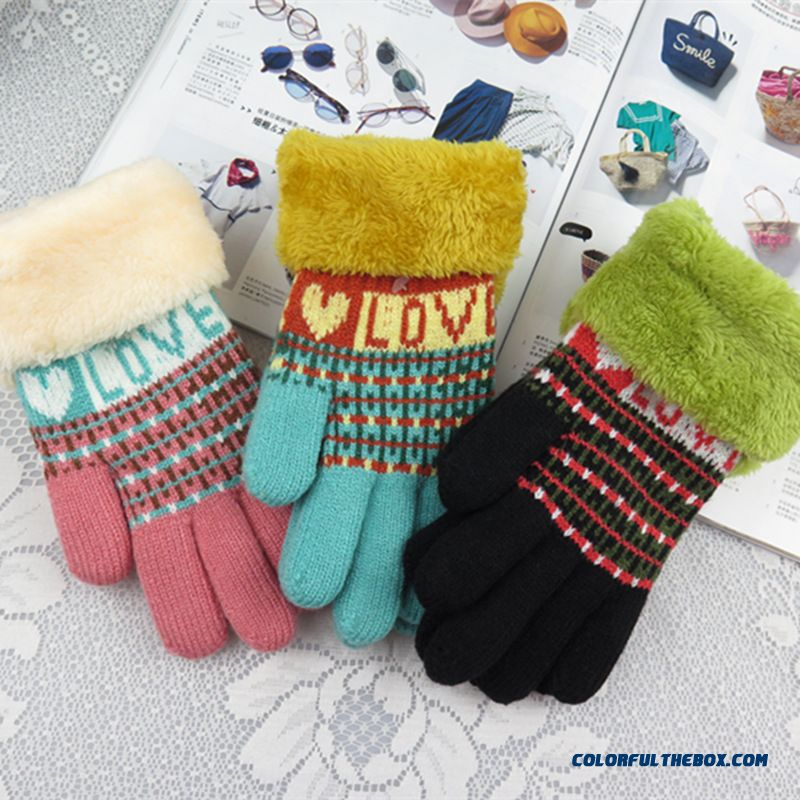 Christmas Gifts Kids Boys And Girls Knitted Wool Cashmere Korean Cute Plush Soft Velvet Warm Autumn And Winter Plus Thick Mittens