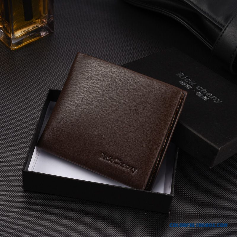 Classic Design Men New Ultrathin Genuine Leather Certified Bags Horizontal Wallets