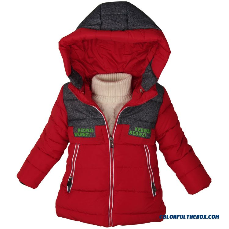 Classic Fashionable Warm Design For Boys Kide Hooded Coats Red Blur Yellow