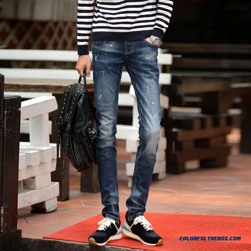 Classic Look Fall Winter Slim Elastic Jeans Handsome Clothing Free Shipping