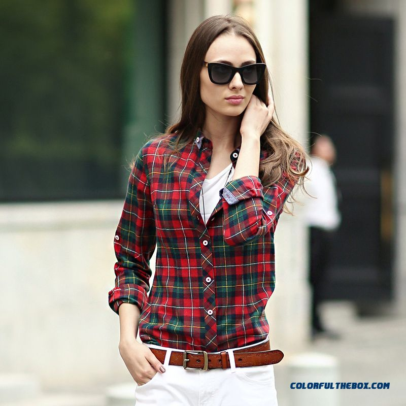 Classic Looks Women Blouses Hit Color Slim And Thin Cotton Long-sleeved Plaid Shirt Blue-green Grid Red-green Grid