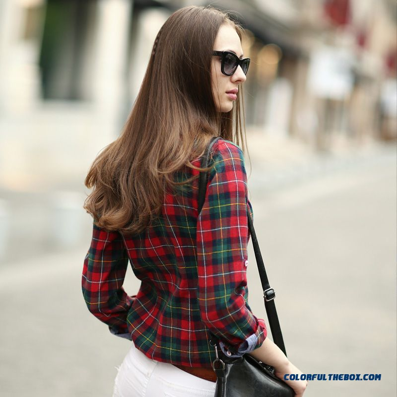 Cheap classic looks women blouses hit color slim and thin for Red and green checked shirt
