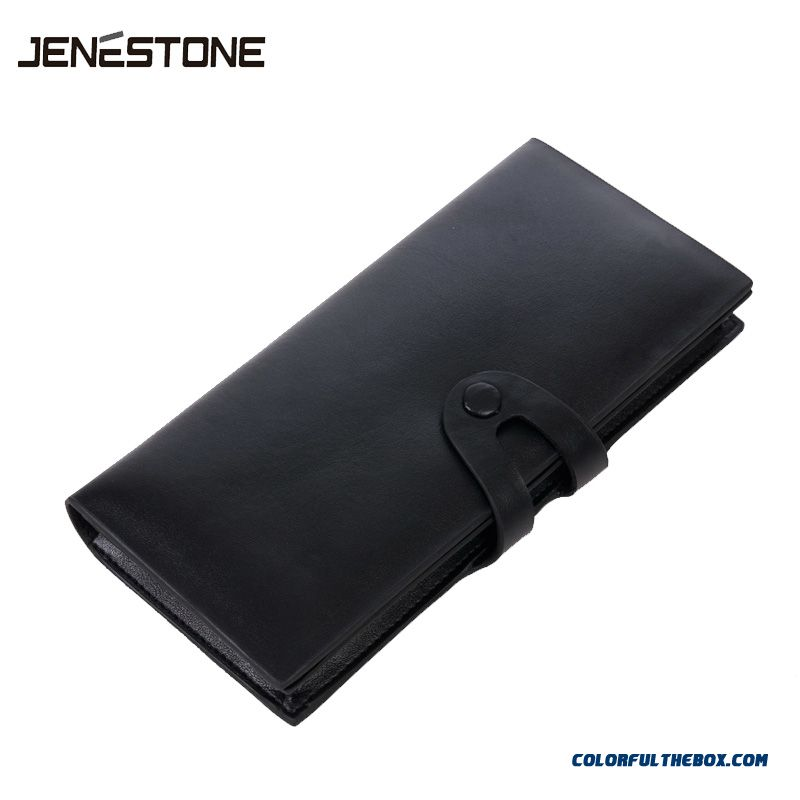 Classic Luxury Black Men Long Wallets Business Casual Cowhide Multi-card Position Wallets Tide
