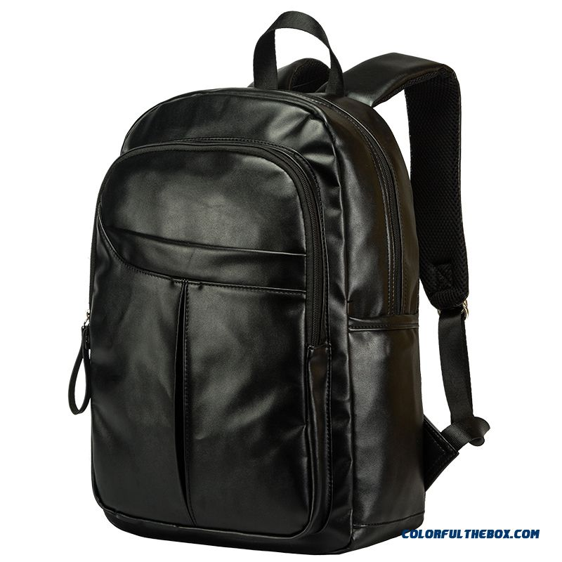 Classic Pu Leather Men's Black Backpack Travel Bags Laptop Bag Fashion Trend
