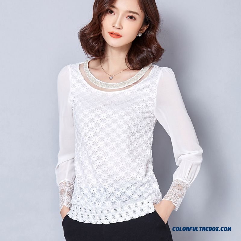 Classic Round Neck Exquisite Openwork Crochet 2016 Spring New Chiffon Women Shirts