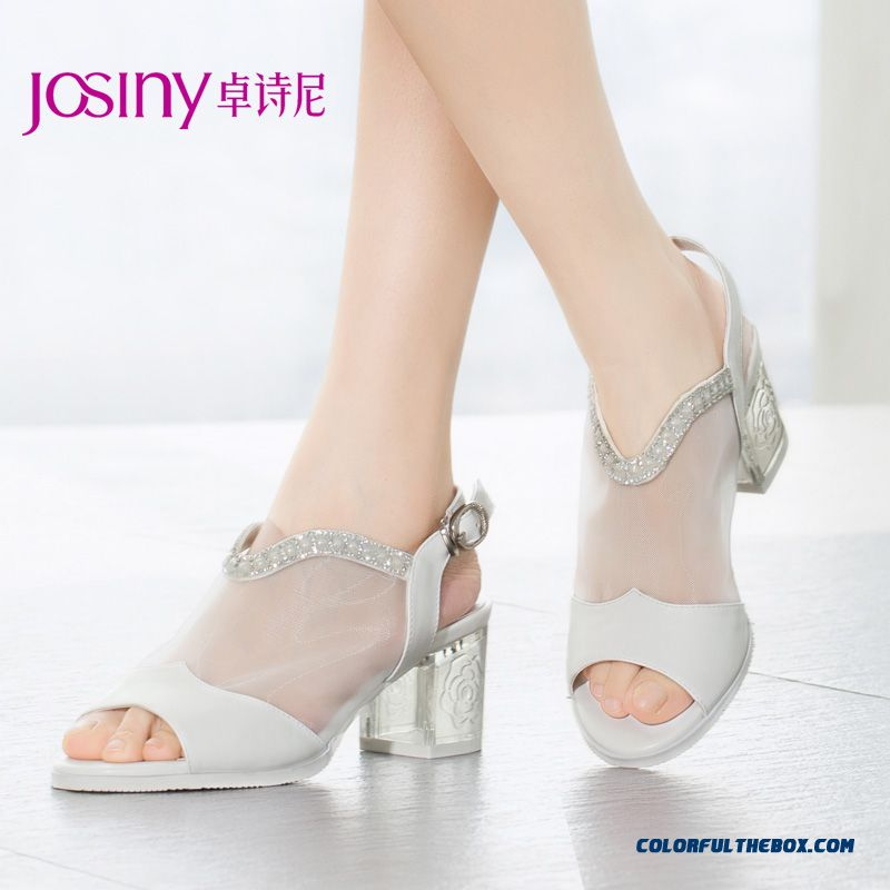 Clearance Specials New High-heeled Sandals Rough Heel Rhinestones Mesh Women Shoes