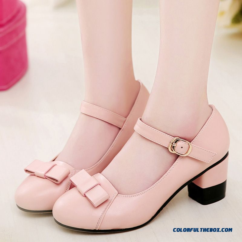 Clearance Specials Sweet Bow-tie Rough Heel Comfortable Women Pumps Shoes