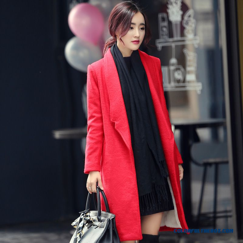Clothing All-match Slim And Thin Medium-long Woolen Coat Mm522