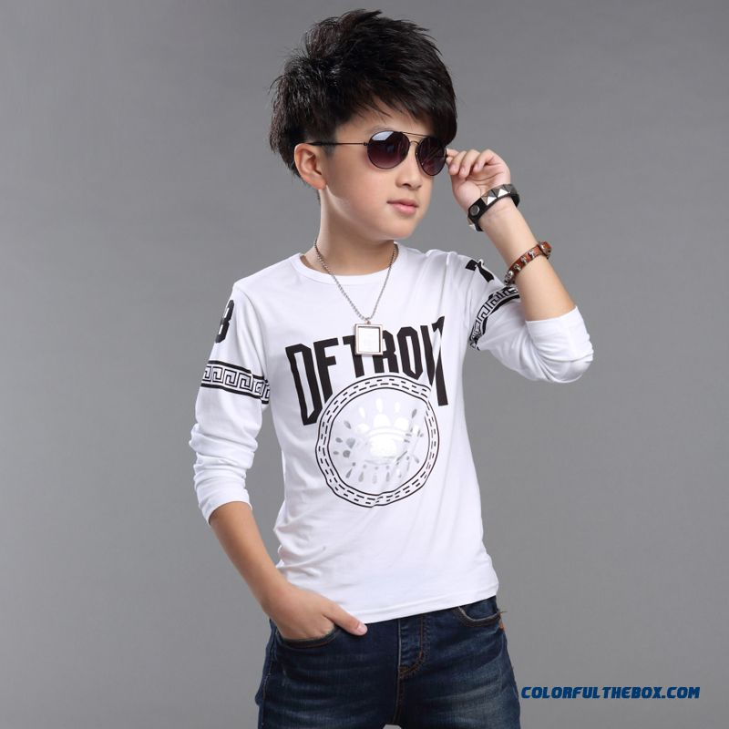 Clothing Cotton Long-sleeved Korean Style Children Kids Autumn T-shirt For Handsome Boys
