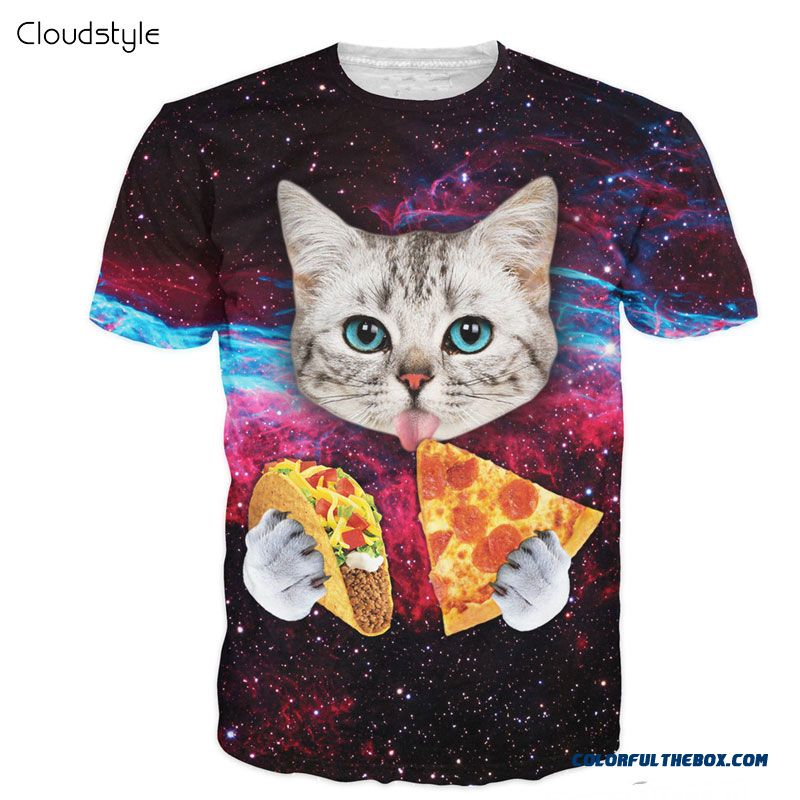 Cloudstyle 21 Patterns S-3xl 3d Men's T-shirt Short Sleeve Cat Eating Pizza In Space Printed Tshirt Homme O Neck Brand Clothing