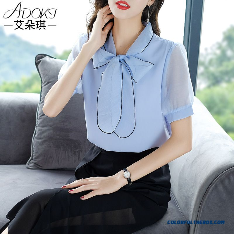 Coat Design New Shirt Chiffon 2019 Ultra Women's Summer Short Sleeve Blue Bow
