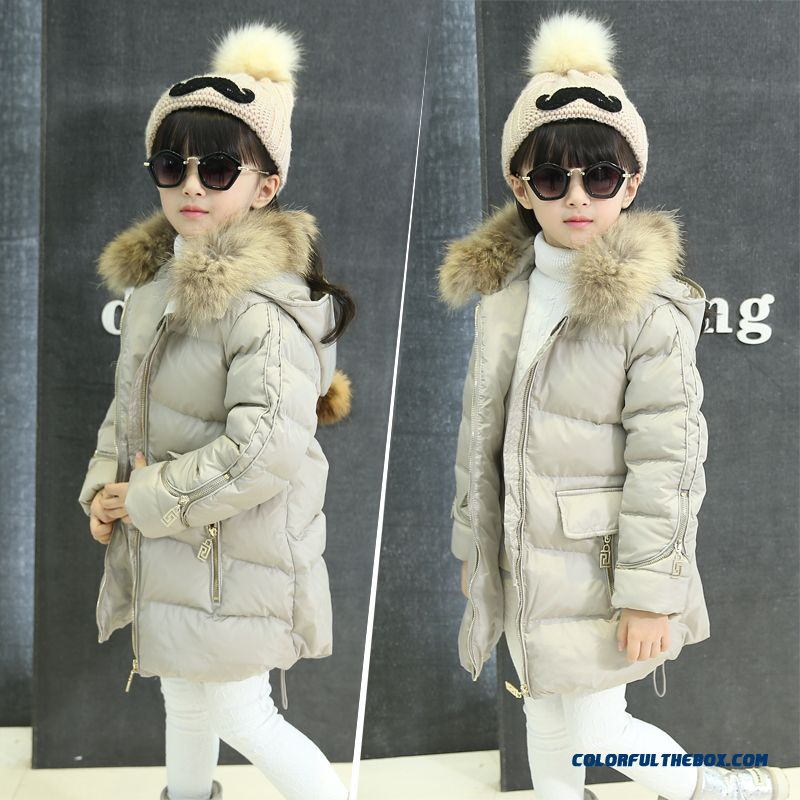 Coat Girl Cotton Big Kids Thicken Hand Plug Down Padded Cotton Grey Pink Clothing With Fur Collar - more images 1