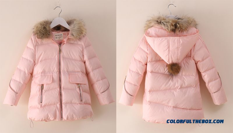 Coat Girl Cotton Big Kids Thicken Hand Plug Down Padded Cotton Grey Pink Clothing With Fur Collar - more images 2