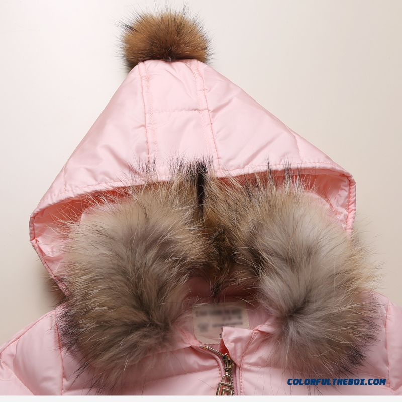 Coat Girl Cotton Big Kids Thicken Hand Plug Down Padded Cotton Grey Pink Clothing With Fur Collar - more images 3