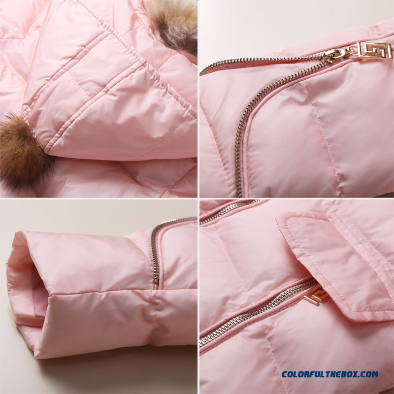Coat Girl Cotton Big Kids Thicken Hand Plug Down Padded Cotton Grey Pink Clothing With Fur Collar - more images 4