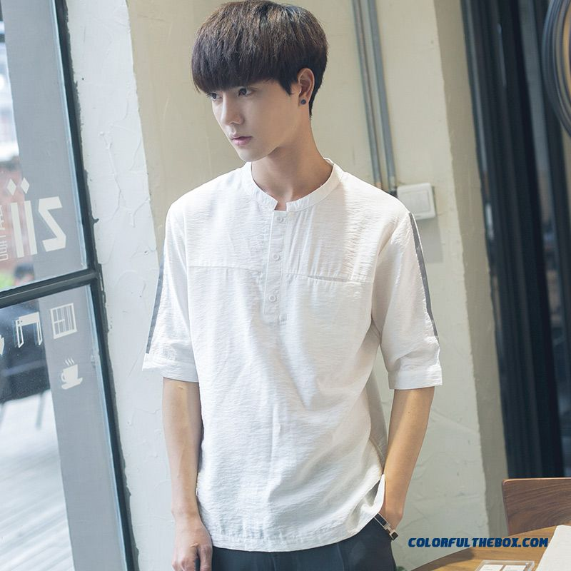 Coat Men's White Summer Trend New Student Europe Loose 2019 All-match Short Sleeve