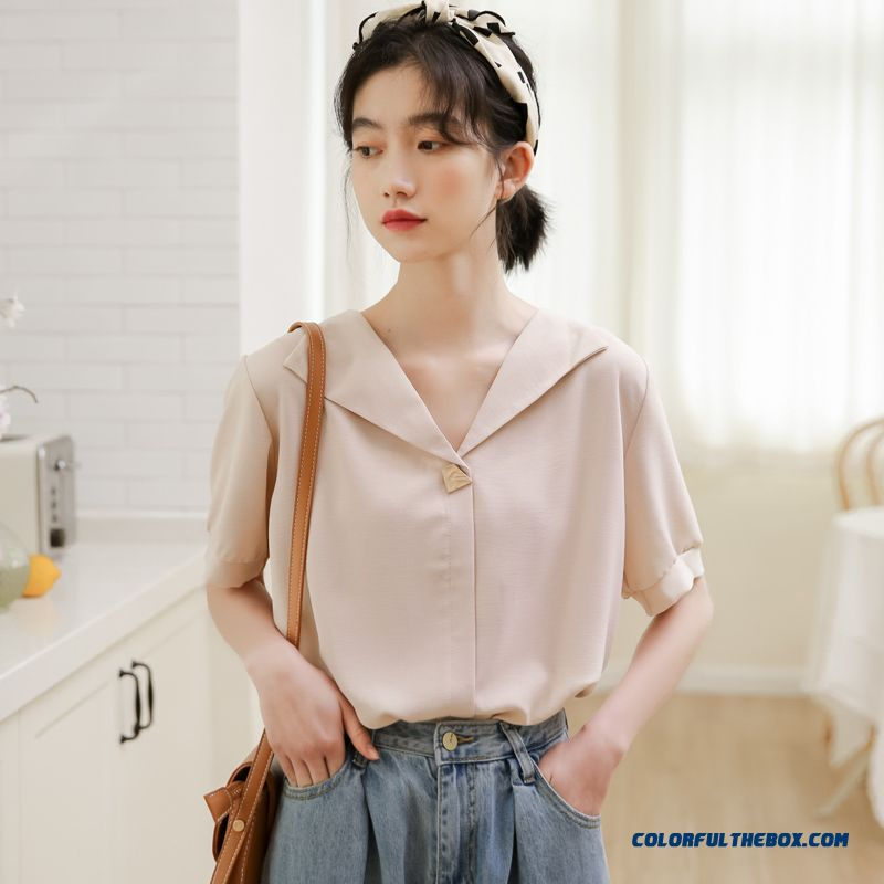 Coat Short Sleeve Summer 2019 V-neck Design Women's Loose Chiffon Europe Shirt