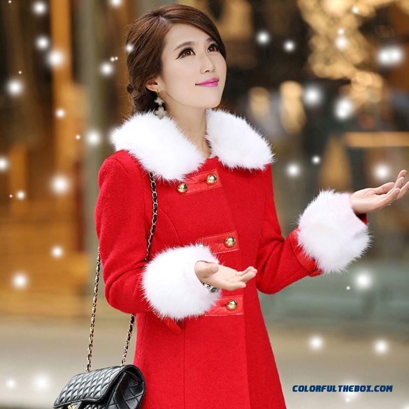 Coat Women's Medium-long Warm Woolen Coat Collar And Cuffs With White Fur