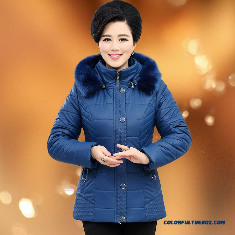 Cold Protective Clothing Padded Loose Pure Color Women's Jacket Elderly Women With A Fur Collar