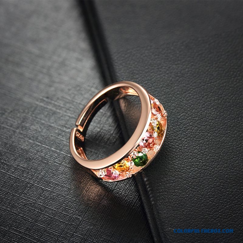 Colored Stones Tourmaline Ring Natural Silver Fine Jewelry 18k Rose Gold 925 Silver Ring For Women