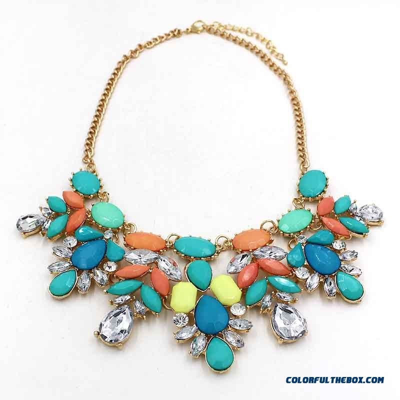 Colorful Flower Necklace Women Clavicle Chain Wholesale