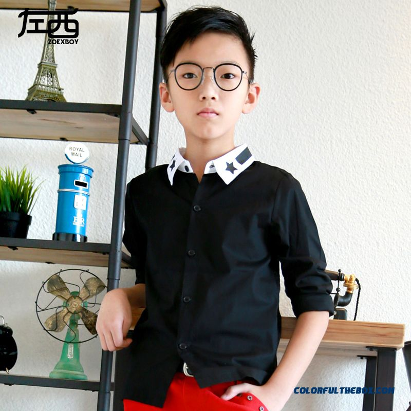Comfortable Fit Lapel Pentagram Colar Boys Shirt Hot Sale Kids Ckothing Free Shipping - more images 1