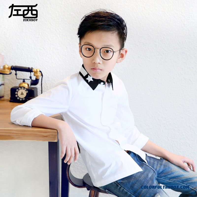 Comfortable Fit Lapel Pentagram Colar Boys Shirt Hot Sale Kids Ckothing Free Shipping - more images 2