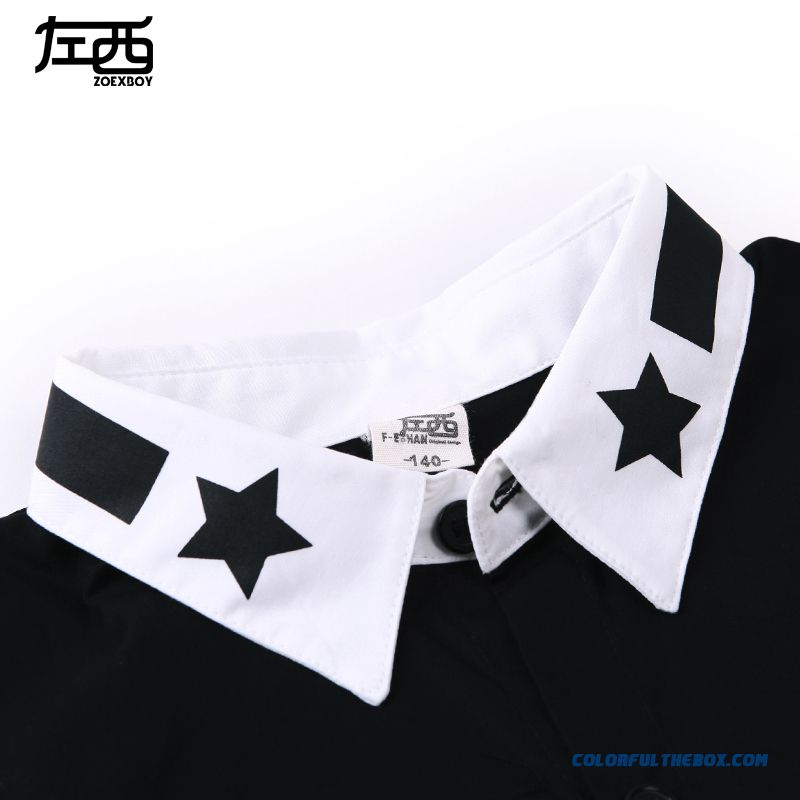 Comfortable Fit Lapel Pentagram Colar Boys Shirt Hot Sale Kids Ckothing Free Shipping - more images 4