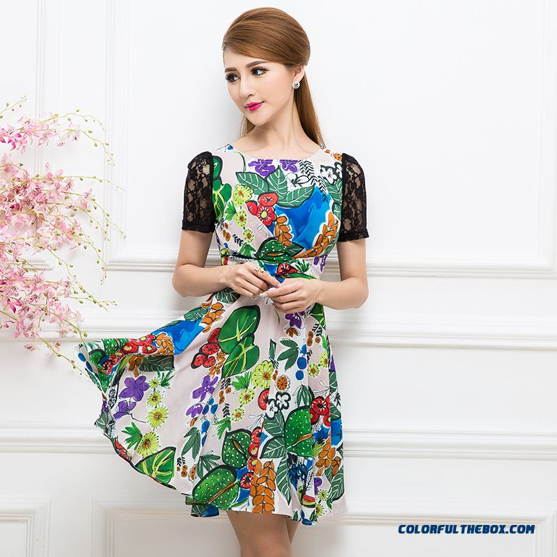 Comforttable Summer New Elegant Lace Stitching Printed Short-sleeve Dress Women Slim Fit
